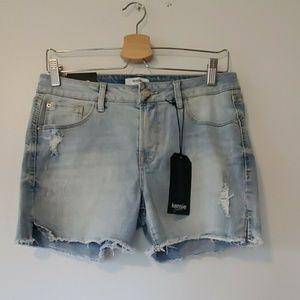 Kensie Light Blue Distressed Denim Jean Shorts 8